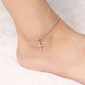 Summer personality popular popular anklet chain cross foot anklet