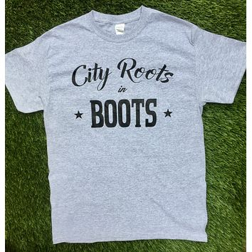 """City Roots in Boots"" Men's Gray Logo Tee"