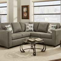 Roundhill Furniture Fabric Sectional Sofa with 3 Pillows, Vivid Onyx