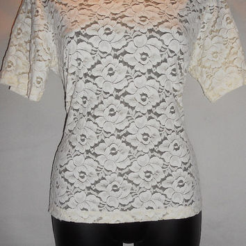 Vintage 80s White Cream Lace Short Sleeve Shirt