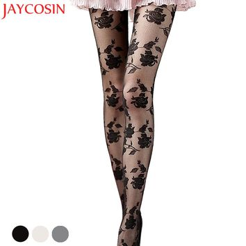 Hosiery tights Pantyhose women Rose print Black stockings Sexy Hosiery femme pantyhose girls 2018 stocking Silk Tights JN30E