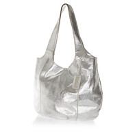 Silver metallic leather slouch bag - shoulder bags - bags / purses - women
