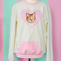 Cute fairy kei vintage cat pullover