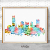 Oklahoma City Skyline, Oklahoma City Art, Oklahoma City Oklahoma, City Skyline Prints, Skyline Art, Cityscape Art, ArtPrintZone