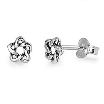 Sterling Silver Wicca Pentagram Knot Stud Earrings