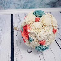 MEDIUM ivory mint Coral reef rustic beach summer wedding BOUQUET sola Flowers Burlap lace Bridesmaid toss flower girl roses vintage custom