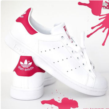 Unisex Men & Women Casual Sport Print Adidas Stan Smith Shoe Red