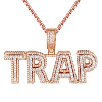 14k Rose Gold Tone Iced Out Trap Double Layer Hip Hop Pendant