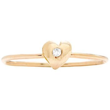 Baby Heart Stacking Ring With Diamond