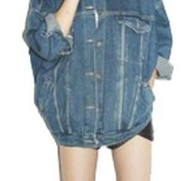 Blue Denim Jeans Baggy Boyfriend Oversize Loose Batwing Jacket Boxy Coat
