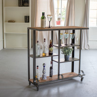 Recycled Honey Wood And Raw Metal Rolling Bar