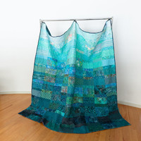 Quilt  -  ocean rain - made to order