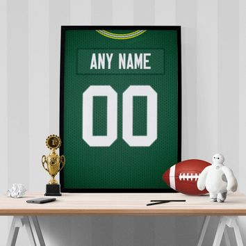 Green Bay Packers Jersey Poster - Print Personalized Select ANY Name & ANY Number