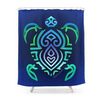 Society6 Tribal Turtle Shower Curtains