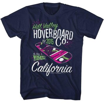 DCCK7G2 2016 Brand Tshirt Homme Tees Back to the Future Hill Valley Hoverboard Company Navy Adult T-shirt Cotton Low Price Top Tee