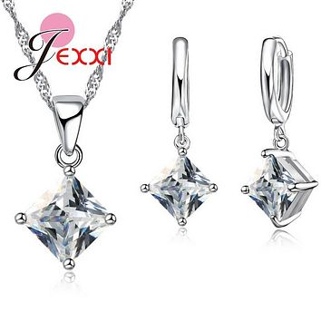 High Quality CZ Geometric 3D Square Statement Necklace Collar 925 Sterling Silver Drop Earrings for Women Brincos