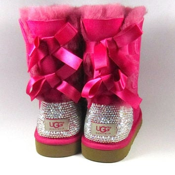 UGG Bailey Bow Hot Pink Sheepskin Boots with Swarovski Crystal Embellishment - Winter/Holiday 2013