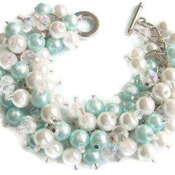 Tiffany Blue and White Pearl Cluster Bracelet with Crystals,   Bridesmaid Bracelet, Beach Themed Wedding, Cha Cha Bracelet