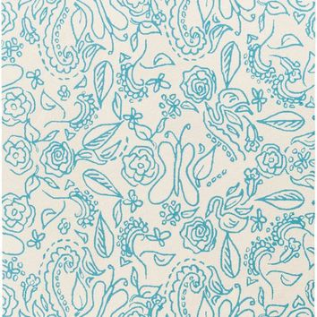 Surya Tic Tac Toe Floral and Paisley Blue TCT-6008 Area Rug