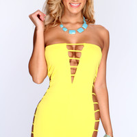 Yellow Strapless Strappy Side Sexy Party Dress