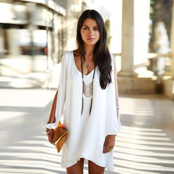 Women Bat-wing Sleeve Mini V-Neck Loose Chiffon Dress
