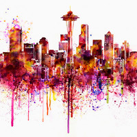 Seattle Skyline watercolor painting for instant download, Cityscape, city watercolor, city poster, aquarelle, city simbols, city map