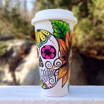 Hand painted sugar skull and sunflower travel coffee mug