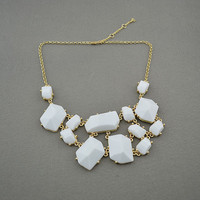White Bubble Bib Statement Necklace.. on Luulla