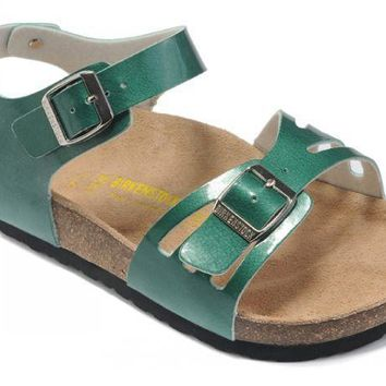 Birkenstock Bali Sandals Artificial Leather Green - Ready Stock