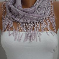 Lilac Shawl and Scarf  Headband - Cowl with Lace Edge- Summer Trends by DIDUCI