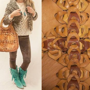 70s Large Brown Leather Vintage Hippie Bag | Heavy Genuine Leather Macrame Crochet Style Camel Neutrals Bohemian Handbag Boho Purse Tote 60s