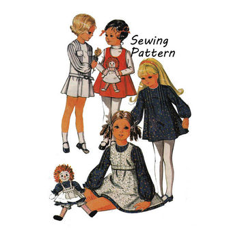 McCall's 2530 Toddler Girl Drop-Waist Dress, A-Line Dress, Doll Shaped Pocket Jumper Sewing Pattern Size 2 Bust 21in/53cm Vintage 1970 UNCUT