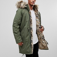 River Island Parka Jacket With Faux Fur Lining In Khaki at asos.com
