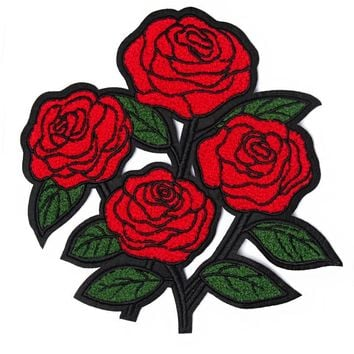 Red Roses Large Chenille Back Patch