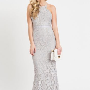 Amalia Grey Lace Maxi Dress