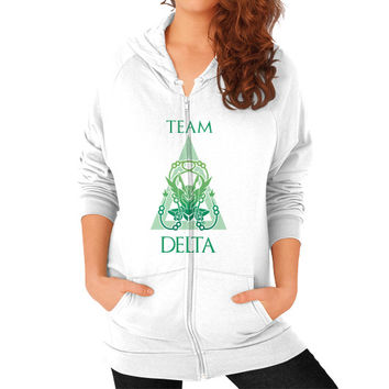 Team Delta Zip Hoodie (on woman)