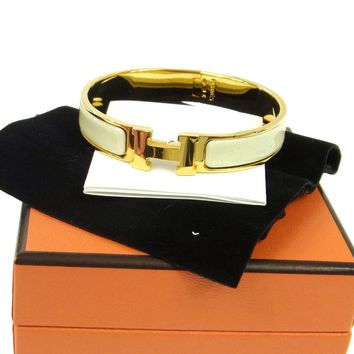 Authentic HERMES Vintage H Logos Clic Clac Bangle Gold White Accessories A31176
