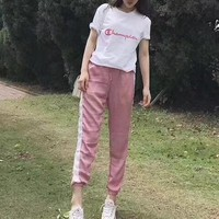 """""""Champion"""" Women Sweet Casual Fashion Letter Embroidery Short Sleeve T-shirt Trousers Set Two-Piece Sportswear"""