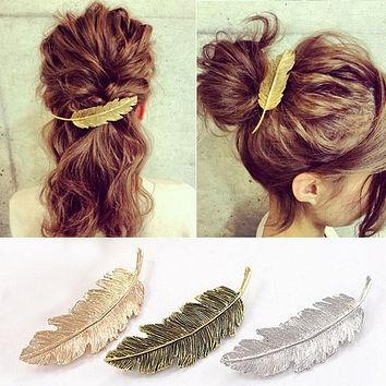 New Hot Fashion Vintage Gold Retro Metal Feather Big Hair Grips Clip
