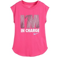 Girls Pink Cotton 'I'm In Charge' T-Shirt