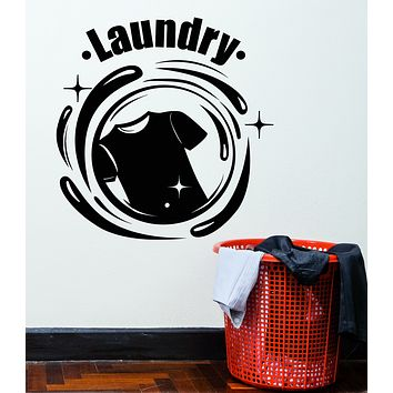 Vinyl Wall Decal Laundry Room Dry Cleaning Service Stickers Mural (g3014)