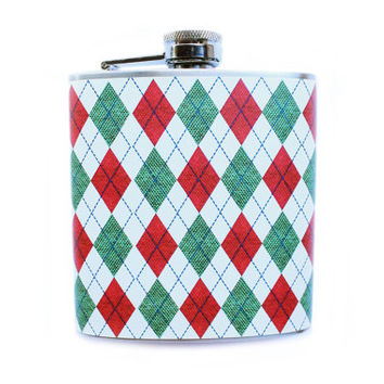 Argyle Christmas Sweater Printed Flask, Red Green and White Holiday Stocking Stuffer