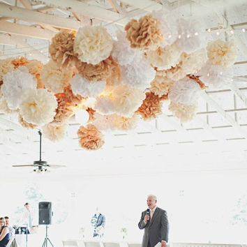 wedding ceremony decor ... 40 tissue paper poms ... custom colors // weddings // birthday party decorations // reception // tent marquee