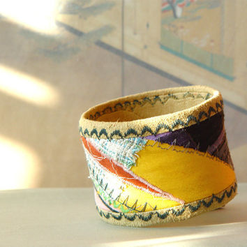 Embroidered bracelet cuff jewelry, textile bracelet, textile cuff, fabric bracelet, fabric cuff, eco friendly bracelet, soft jewelry, yellow