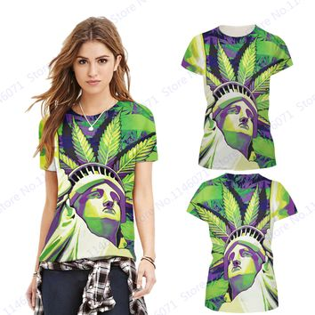 Statue Of Liberty Sports Running T-shirt Short-sleeve O-Neck Yoga Tops Green Loose Fitness Gym Tees Streetwear Women's T Shirts
