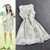 White Digital Floral Print  Sleeveless Mesh Pleated Mini Dress