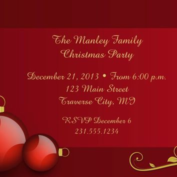 Red Ornaments Christmas Party Invitations