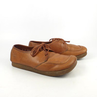 Leather Oxford Shoes Vintage 1970s Hush Puppies Earth Shoes Women's size 8 M