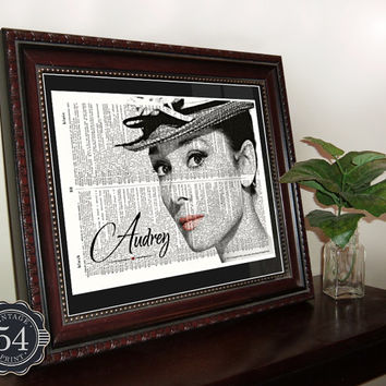 AUDREY HEPBURN PHOTO Vintage Dictionary Art Print Hollywood Breakfast at Tiffany's Upcycled Audrey Hepburn Decor Audrey Hepburn Wall Decor