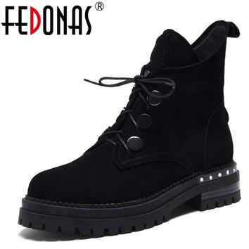 FEDONAS Punk Black Women Cow Suede Ankle Boots Sexy Thick Heels Lace Up Martin Shoes Woman Rivets Short Quality Motorcycle Boots
